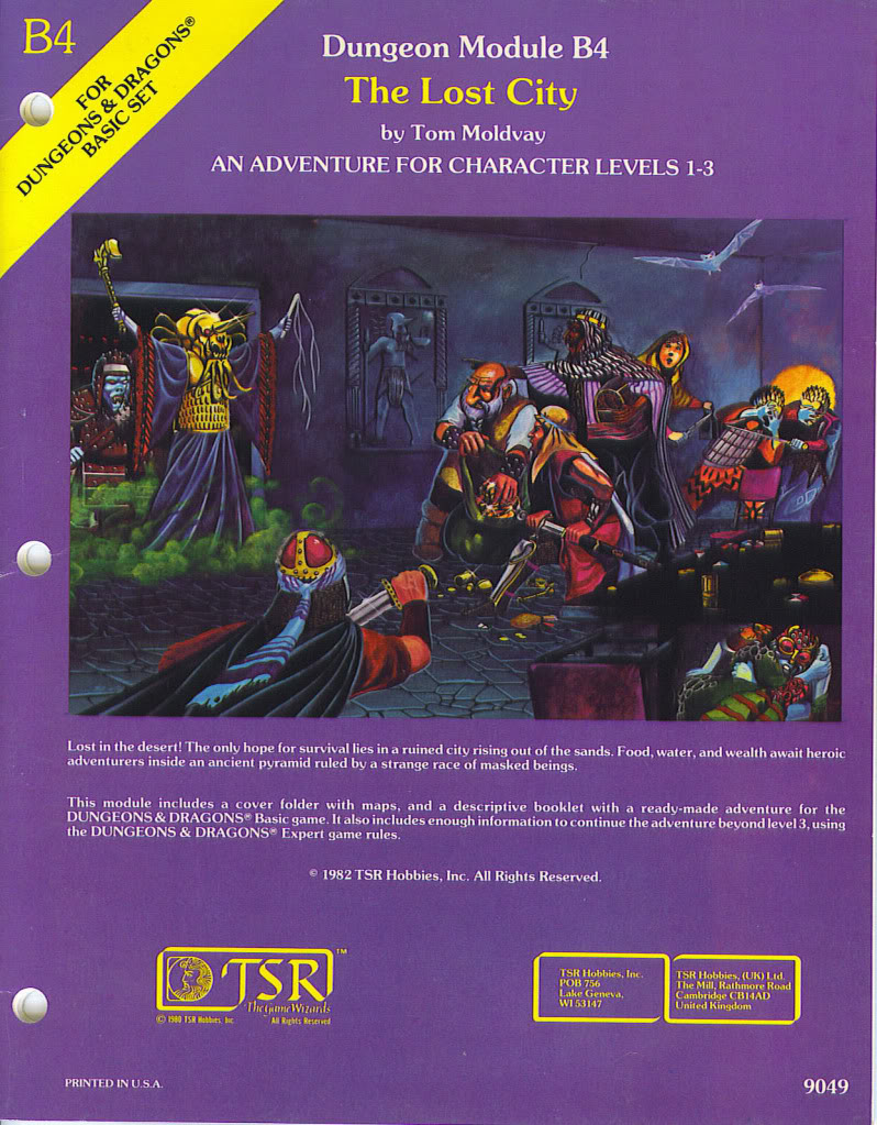 B4 – The Lost City by Tom Moldvay I have hosted this module only a few times in the past 25 years or so simply on the premise that it...